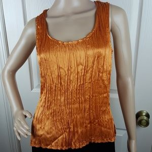 Emanuel by Emanuel Ungaro Orange Silk Tank Top